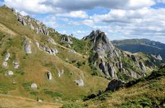 Stock Photo of Beautiful mountain vista, sedimentary rocks in the Carpathians
