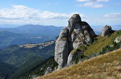 Stock Photo of Beautiful mountain vista, sedimentary rocks in the Carpathians