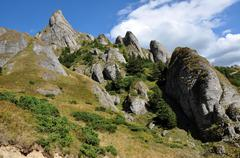 Beautiful mountain vista, sedimentary rocks in the Carpathians - stock photo
