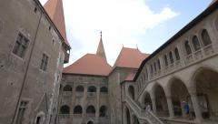 View of Corvin Castle from the first floor, Hunedoara Stock Footage