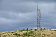 Telecommunication tower on the mountain Stock Photos