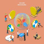 Secure messaging isometric flat vector concept. Stock Illustration