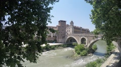 Embankment on the river Tiber - stock footage