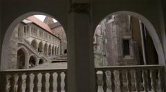 Walking througt the first floor corridor at Corvin Castle, Hunedoara Stock Footage