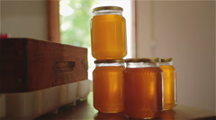 Homemade biologic honey in jars Stock Footage