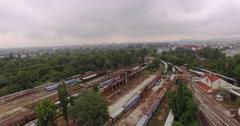 Aerial trian tracks 4K Stock Footage