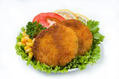 Cutlets And Greenery - stock photo