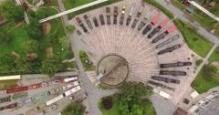 Aerial tilt, train transfer station 4K Stock Footage