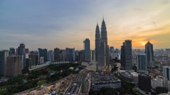 Time lapse: Golden sunset view over Kuala Lumpur city center Stock Footage