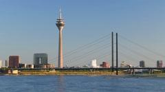 Magnificent view of evening Düsseldorf Stock Footage