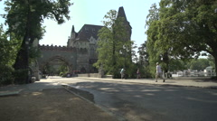 Hungarian Vajdahunyad castle at Budapest at summer Stock Footage