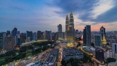 Time lapse: Day to night time lapse of Kuala Lumpur center. Slide effect Stock Footage