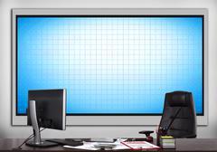 Office with blank plasma panel Stock Photos