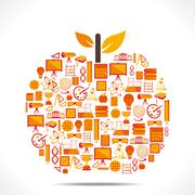 apple design with educational icon concept design vector - stock illustration