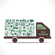 creative free delivery vehicle design with online shopping icon concept vector - stock illustration