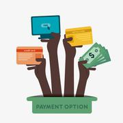 creative different payment option hold in hand concept vector - stock illustration