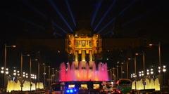 Magic Fountain in the night, Barcelona, Spain Stock Footage