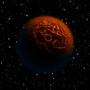 Abstract planet with red atmosphere and huge cracks with lava flowing to the - stock illustration