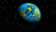 Animated abstract planet Earth with blue atmosphere and flood Stock Footage