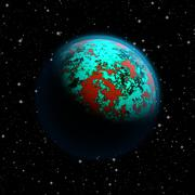 Abstract planet Earth with blue atmosphere, toxic oceans and red flooded cont - stock illustration