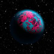 Abstract planet Earth with blue atmosphere and continents covered with a toxi - stock illustration