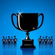 big winning trophy or celebrate success concept - stock illustration