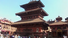 The Bhairabnath Temple on the Durbar Square in Bhaktapur, Nepal Stock Footage