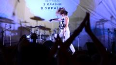 Irina Ostrovskaya acts, sings songs - stock footage