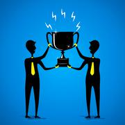 big winning trophy or celebrate success concept - stock illustration