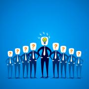 team member confuse only leader have an idea concept - stock illustration