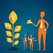 leader pick new idea from plant and member want concept - stock illustration