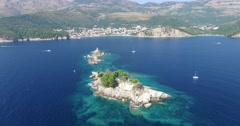 Seascape, church on the island in Montenegro - stock footage