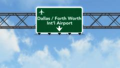 4K Passing Dallas Forth Worth Airport Sign with Matte 2 stylized Stock Footage