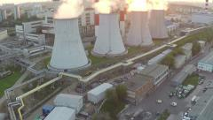 Moscow heat electropower station aerial sunset video Stock Footage