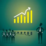 Every team member watch the live company growth on big screen concept Stock Illustration