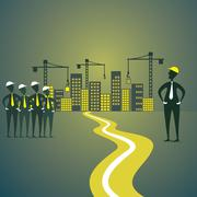 city construction sites, engineer discuss with employee background vector - stock illustration