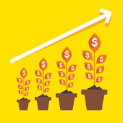 growing money plant arrange in business pillar or growth graph concept vector - stock illustration