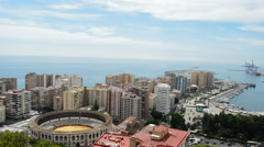 Malaga city from Gibralfaro Stock Footage