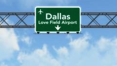 4K Passing Dallas Love Field Airport Sign with Matte 2 stylized Stock Footage