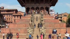 The Nyatapola Temple on the Durbar Square in Bhaktapur, Nepal Stock Footage