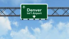 4K Passing Denver Airport Sign with Matte 2 stylized - stock footage