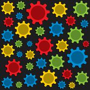 Colorful gear pattern background vector Stock Illustration