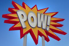 POW! Sound Effect Neon Sign Stock Illustration