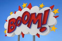 BOOM! Sound Effect Neon Sign - stock illustration