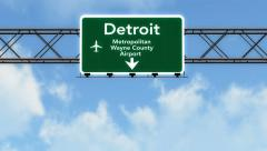 4K Passing Detroit Airport Sign with Matte 4 stylized Stock Footage