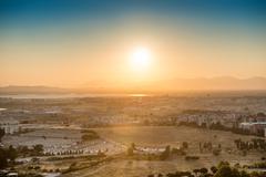 Sunset over europian city Stock Photos