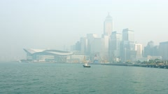 Hong Kong Convention and Exhibition Center in the Fog Stock Footage