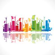 Colorful ecology or renewable energy city background vector Stock Illustration