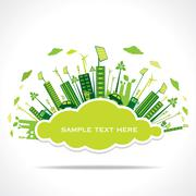 go green or save earth with cloud shape sticker to write your text concept - stock illustration