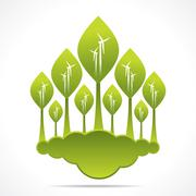 creative green forest of wind mill design background vector - stock illustration